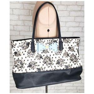 Betsy Johnson Black White Roses & Bow Shoulder Bag